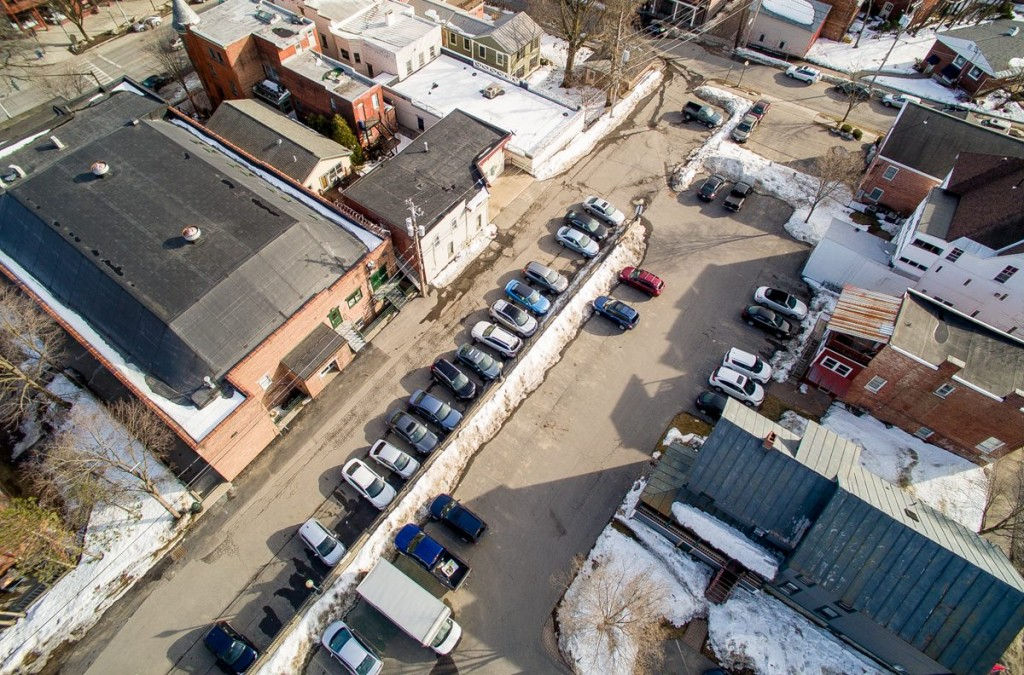 Roohan Realty private parking lot for customers in downtown Saratoga Springs, NY