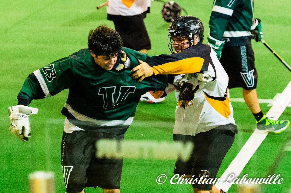 Saratoga Springs Realtor Conner Roohan playing lacrosse for the Vermont Voyageurs in Quebec