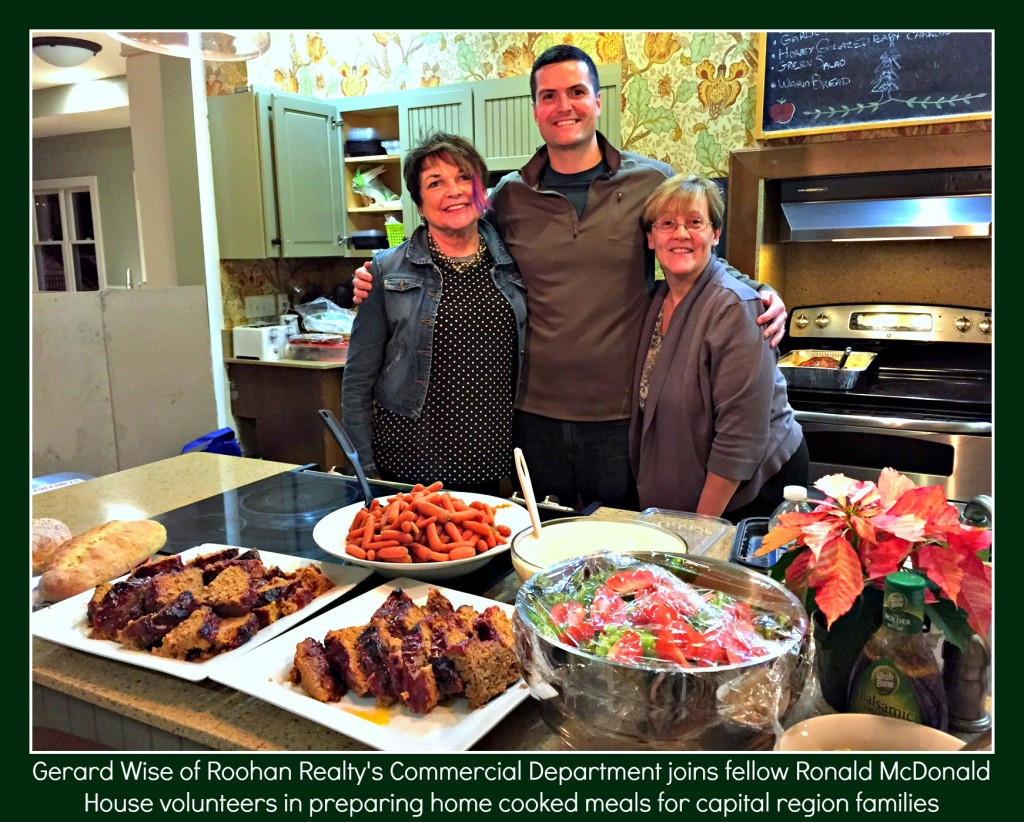 Roohan Realty's Gerard Wise volunteering at Ronald McDonald House of the Capital District cooking meals for families in need (December 2014)