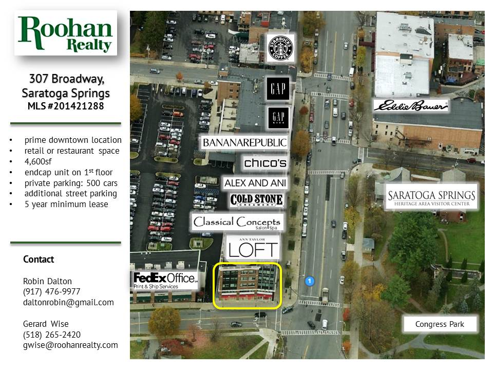Talbots space for lease at 307 Broadway Saratoga Springs by Roohan Realty
