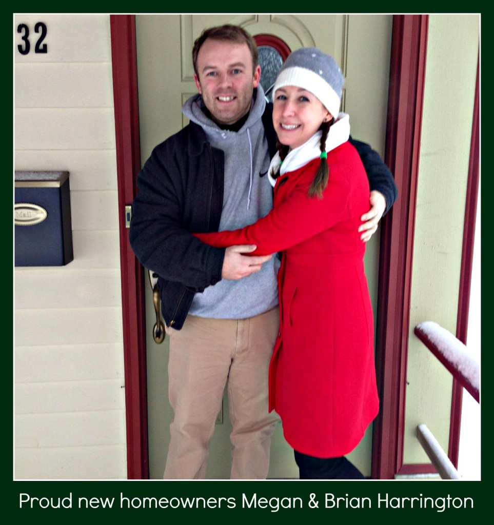 The Harringtons celebrate the successful closing of their new home in Cambrige, NY despite a blizzard
