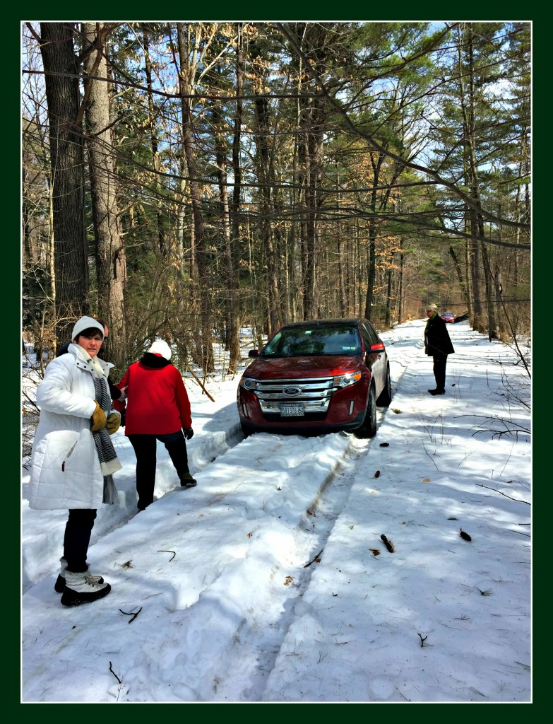 Realtor-Darlene-Chorman-walking-clients-through-snow-to-show-property-in-schuylerville-ny