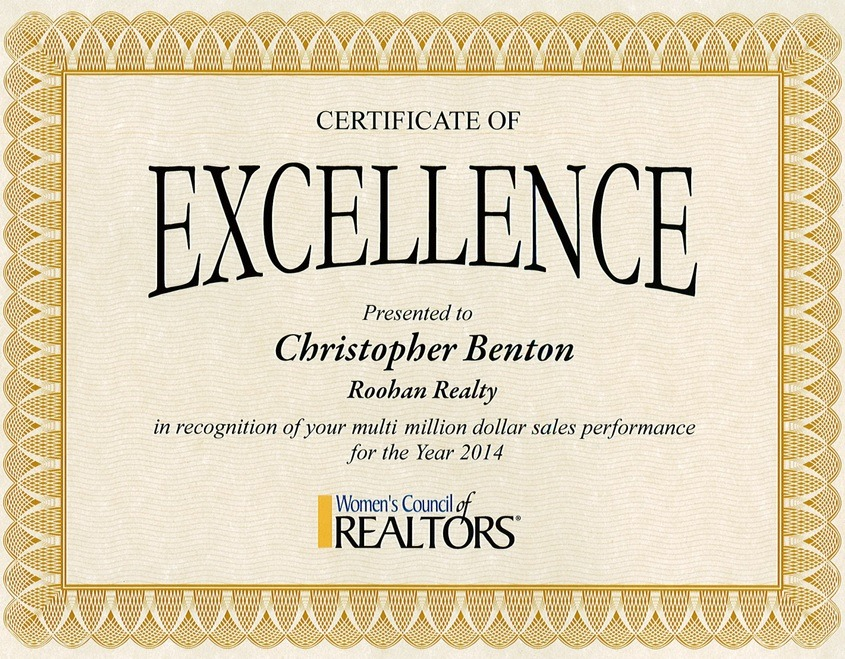 realtor christopher benton roohan realty recipient of multi-million dollar sales award from women's council of realtors 2014