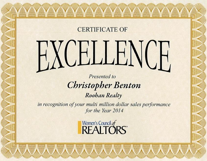 realtor christopher benton roohan realty recipient of multi-million dollar sales award from women's council of realtors 2014