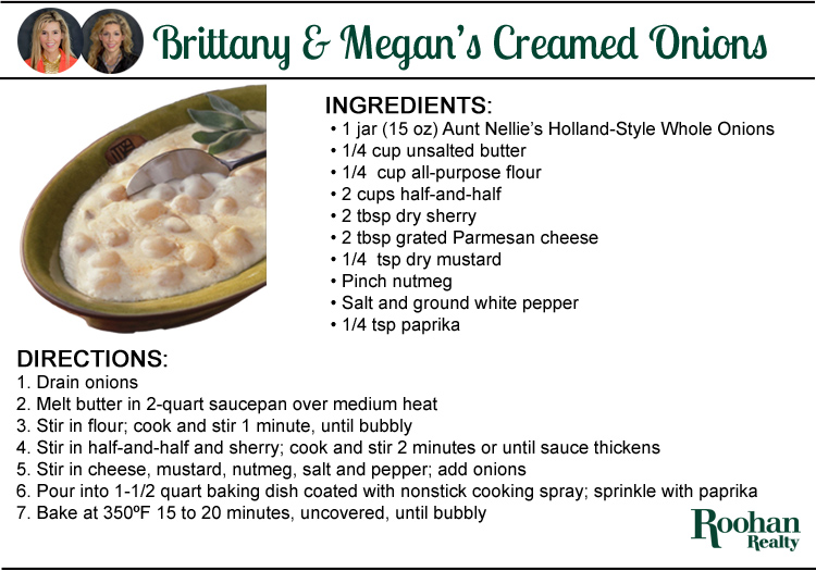 classic creamed onions recipe by brittany and megan alexander roohan realty Saratoga Springs NY