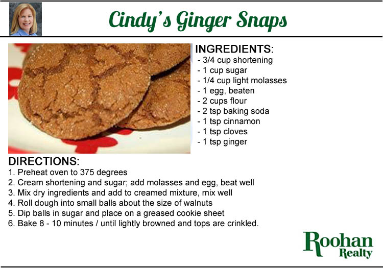 ginger snaps recipe by cindy barton roohan realty Saratoga Springs NY