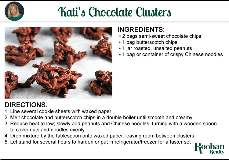 chocolate clusters recipe by kati hauser roohan realty Saratoga Springs NY