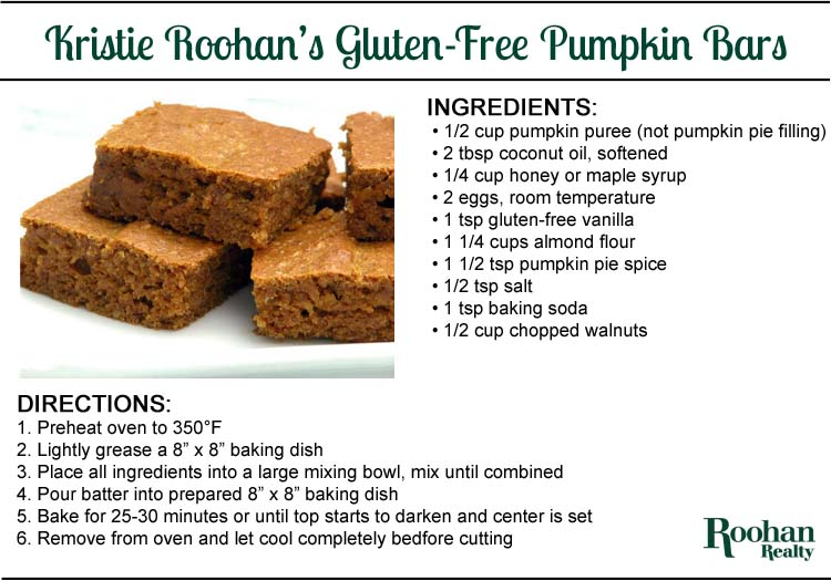 gluten-free pumpkin bars recipe by a kristie roohan roohan realty Saratoga Springs NY