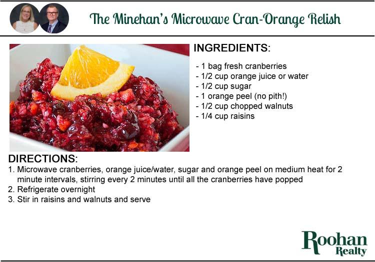cranberry orange relish recipe by meg and jack minehan roohan realty Saratoga Springs NY