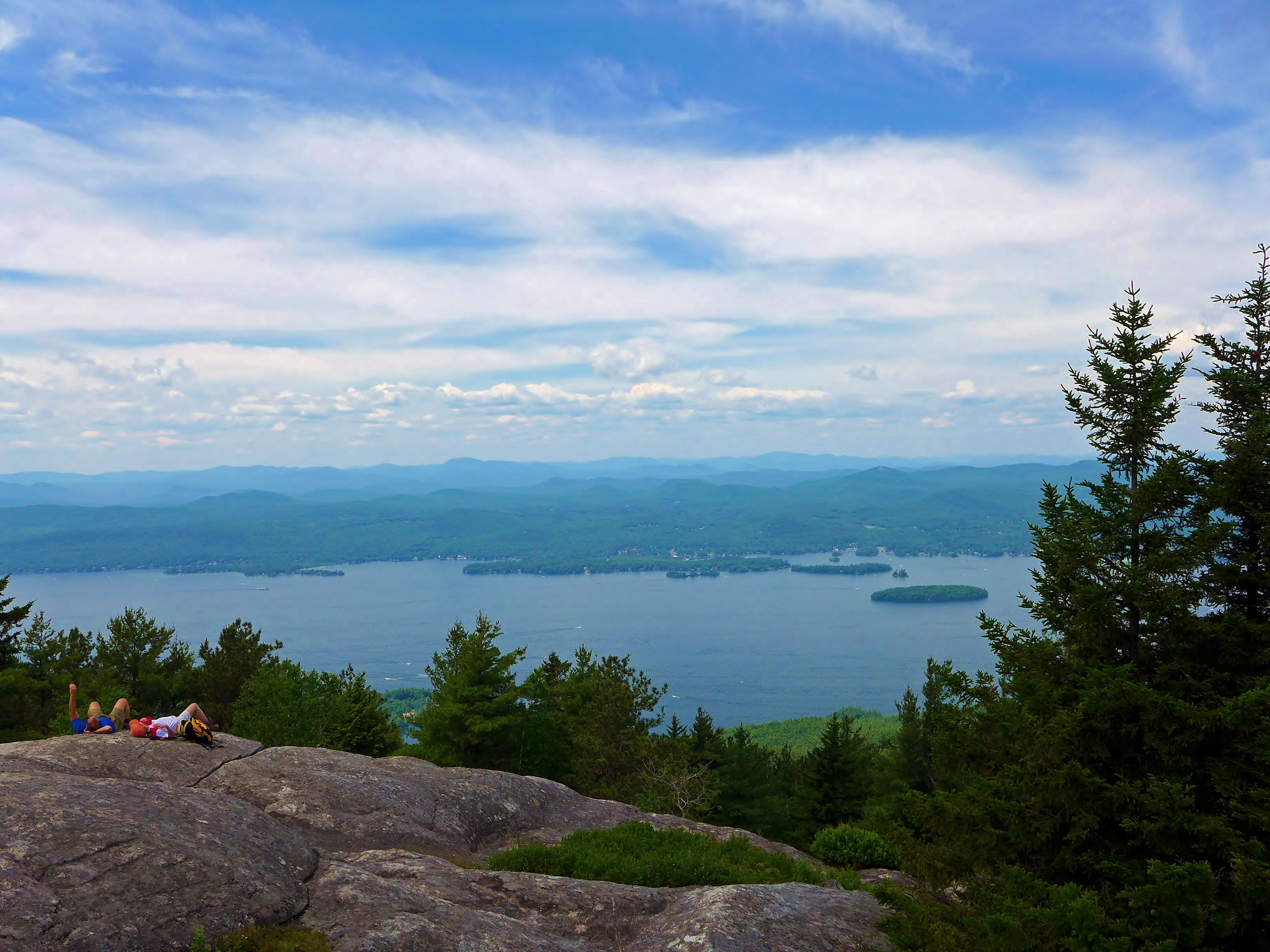 Hikers enjoying the view of Lake George from Buck Mountain - E. King, June 2014