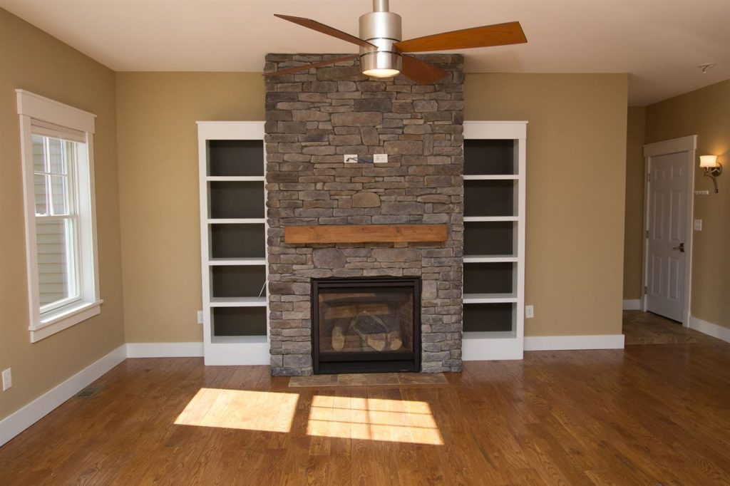 Gas fireplace in townhouse at McGregor Links Golf Course in Saratoga Springs NY