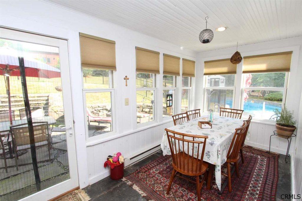 Four season porch of 177 Parkhurst Road a historic home in Saratoga County NY