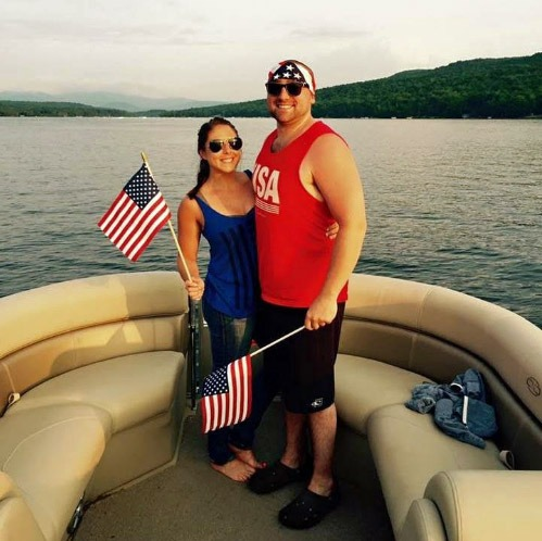 National pride on the lake with wife, Sara