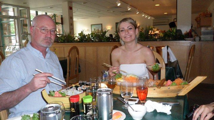 olivia huffman and veteran father at sushi thai in saratoga springs ny