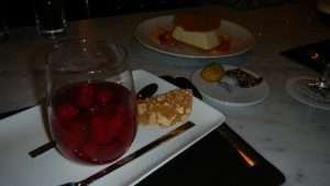 Raspberries and champagne at Salt and Char in downtown Saratoga Springs, NY