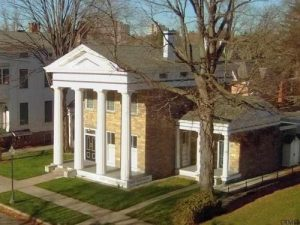 History of 1 Franklin Square in Saratoga, NY, which has wings extending on both sides of the building