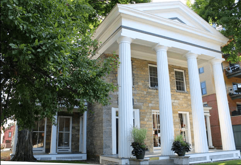 Historic Franklin Square in Saratoga, NY is a striking example of classic Greek Revival style
