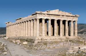 The architecture of classic Greek buildings, like the Parthenon, helped define the Greek Revival style in America