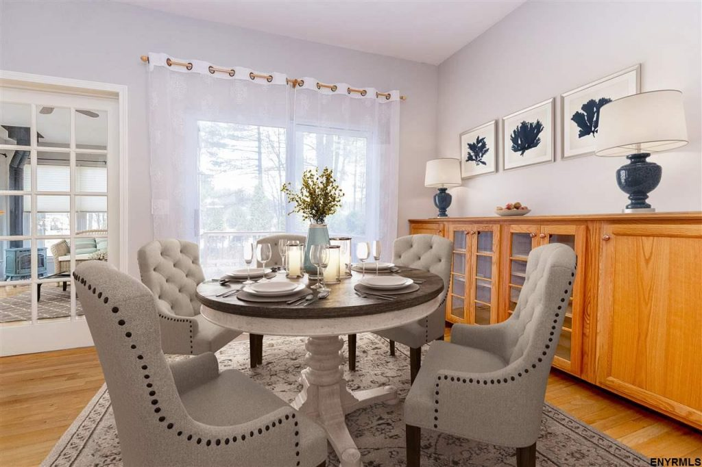 3 shannon way in saratoga springs, ny, features a formal dining room with built in cabinets for extra storage