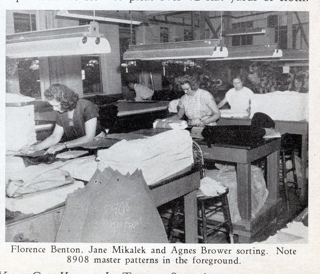 Newspaper clipping of workers sewing garments at The Mill in Saratoga Springs NY