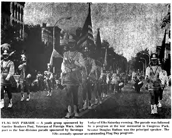 Photo of the 1969 Elks Flag Day Parade featured in The Saratogian (source: fultonhistory.com)
