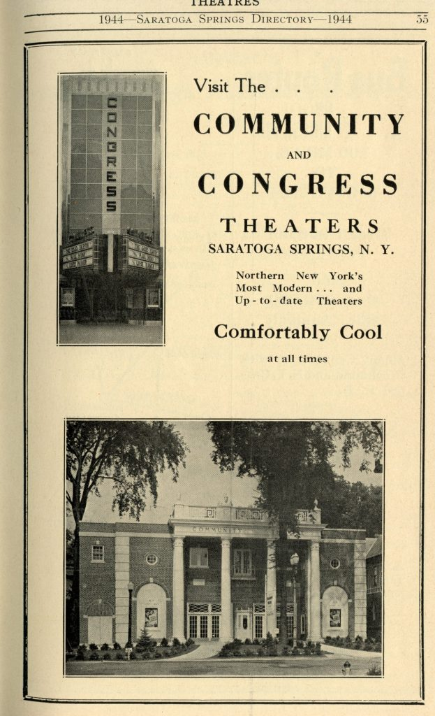 An advertisement for the Community Theater in the 1944 Saratoga Springs Directory - history and architecture of Saratoga Springs, NY
