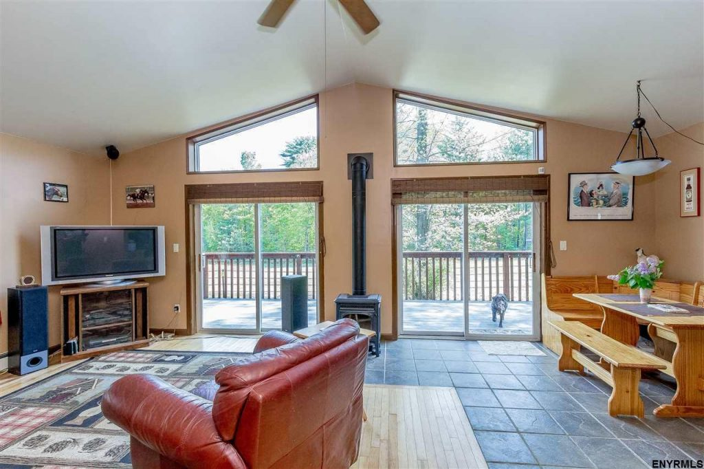 154 Blanchard Road features a 3 bedroom, 2 bath ranch with high ceilings and abundant natural light