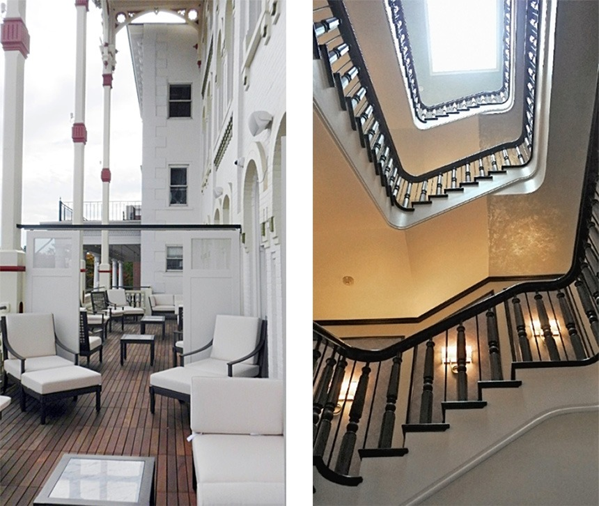 Left: The Adelphi's front balcony overlooking Broadway in Saratoga Springs. Right: The original banister was used for the remodeled staircase