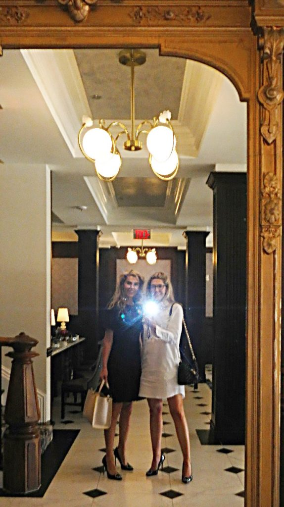 Brittany and Megan Alexander snap a selfie in the Adelphi lobby while touring the hotel to take photos for this blog