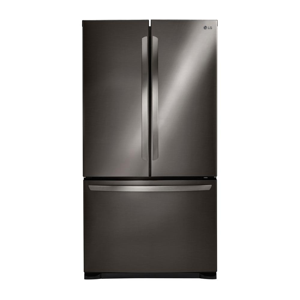 LG 3 Door French Refrigerator in Black Stainless Steel