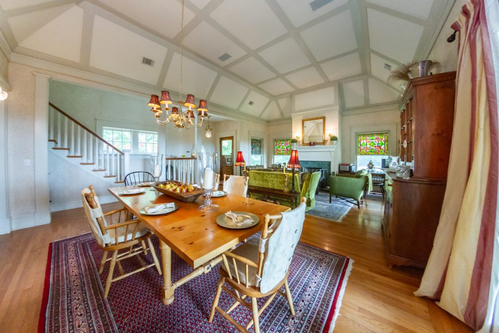 139 Burke Road in Saratoga, NY is a home for sale featuring a coffered ceiling and hardwood floors