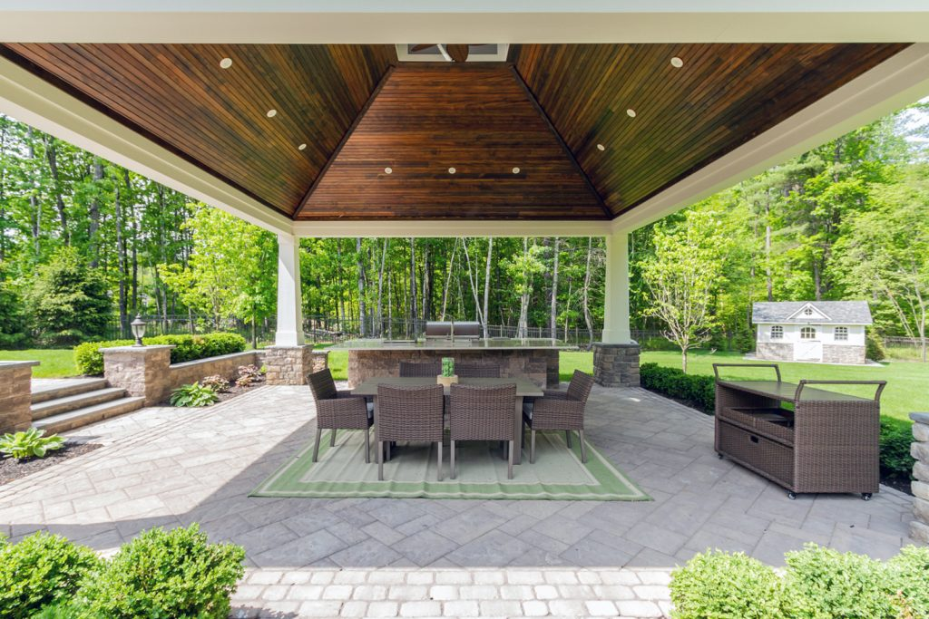 20 Rose Terrace is a luxury home for sale in Saratoga Springs, NY with a luxurious gazebo and full outdoor kitchen