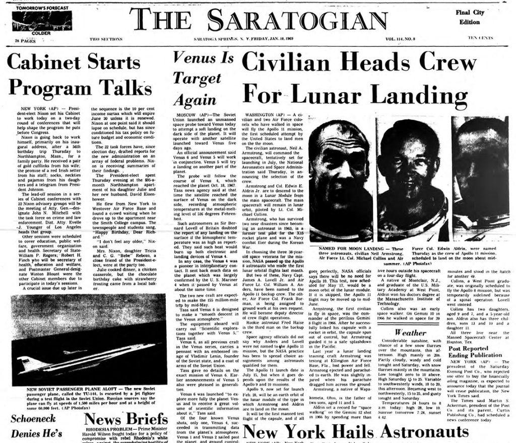 the saratogian announces apollo 11's crew