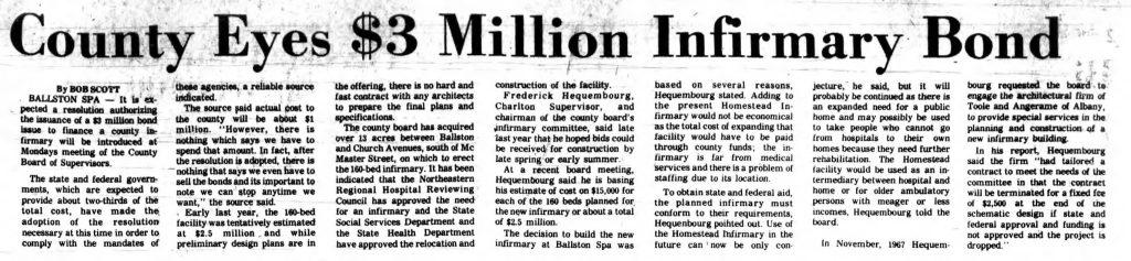 saratoga springs ny eyes new $3 million infirmary in 1969
