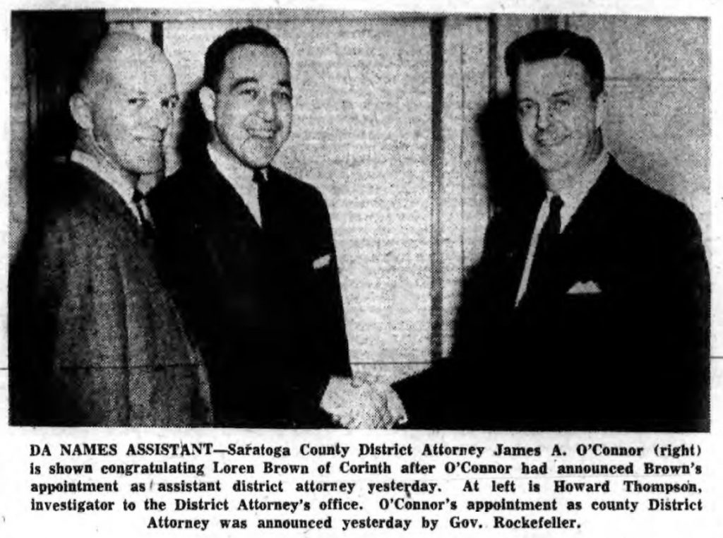 Saratoga County DA 1961 James O'Connor with assistant Loren Brown. Photo from The Saratogian January 4, 1961