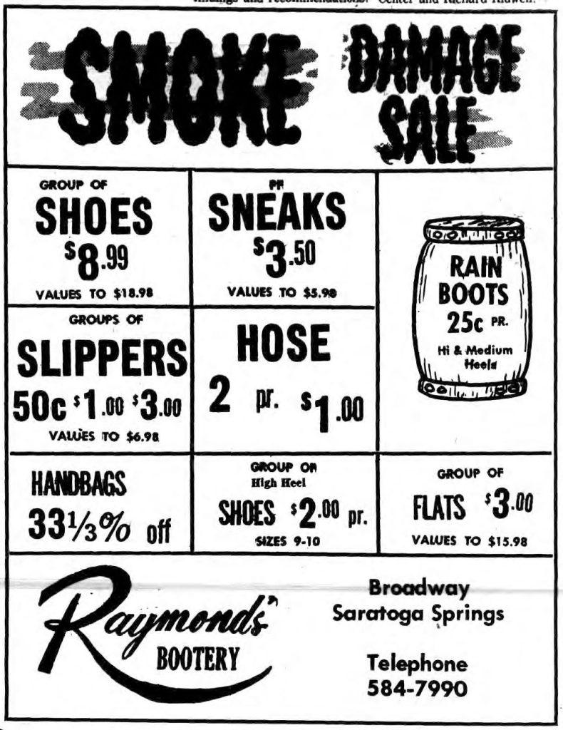 raymonds bootery saratoga 1969 smoke damage sale ad
