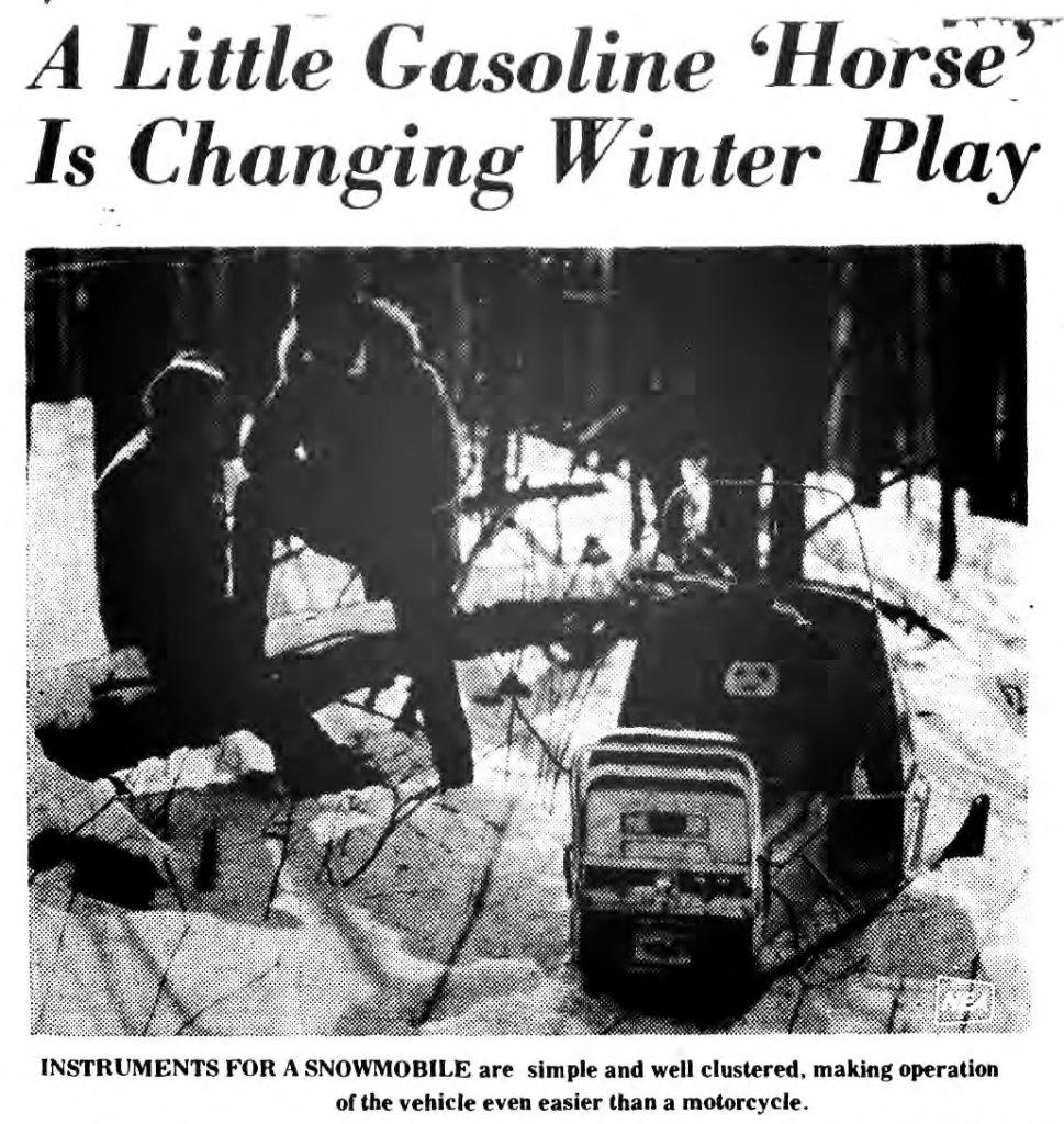 saratoga scene 1969 image of a little gasoline horse aka snowmobile