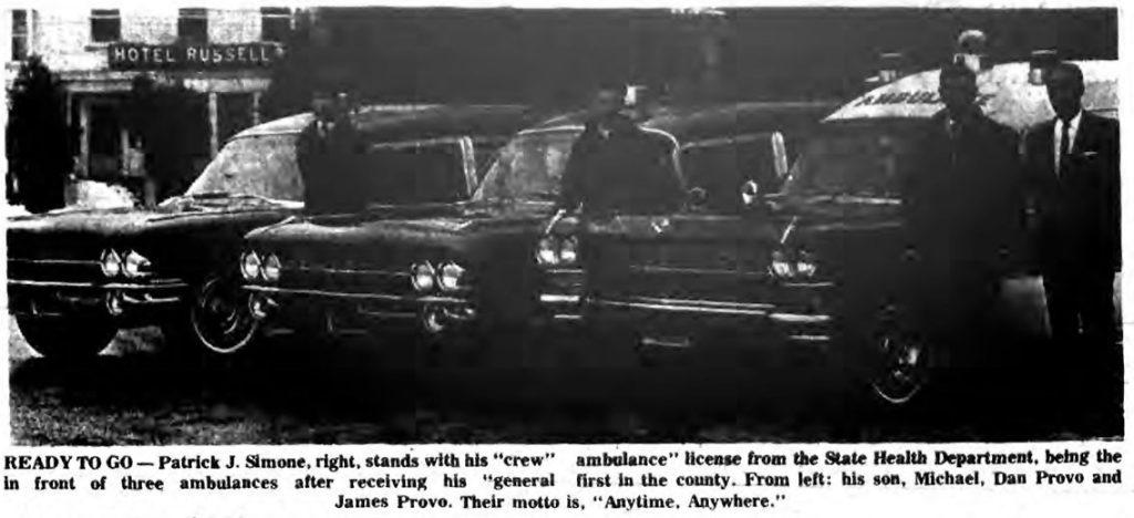saratoga county first state ambulance license 1969