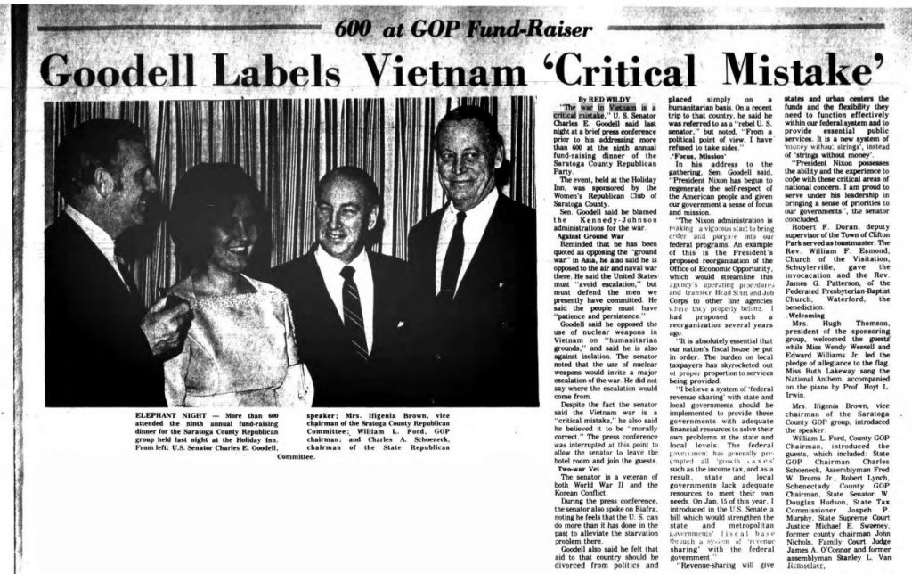 The Saratogian 1969 article Senator Goodell labels Vietnam critical mistake