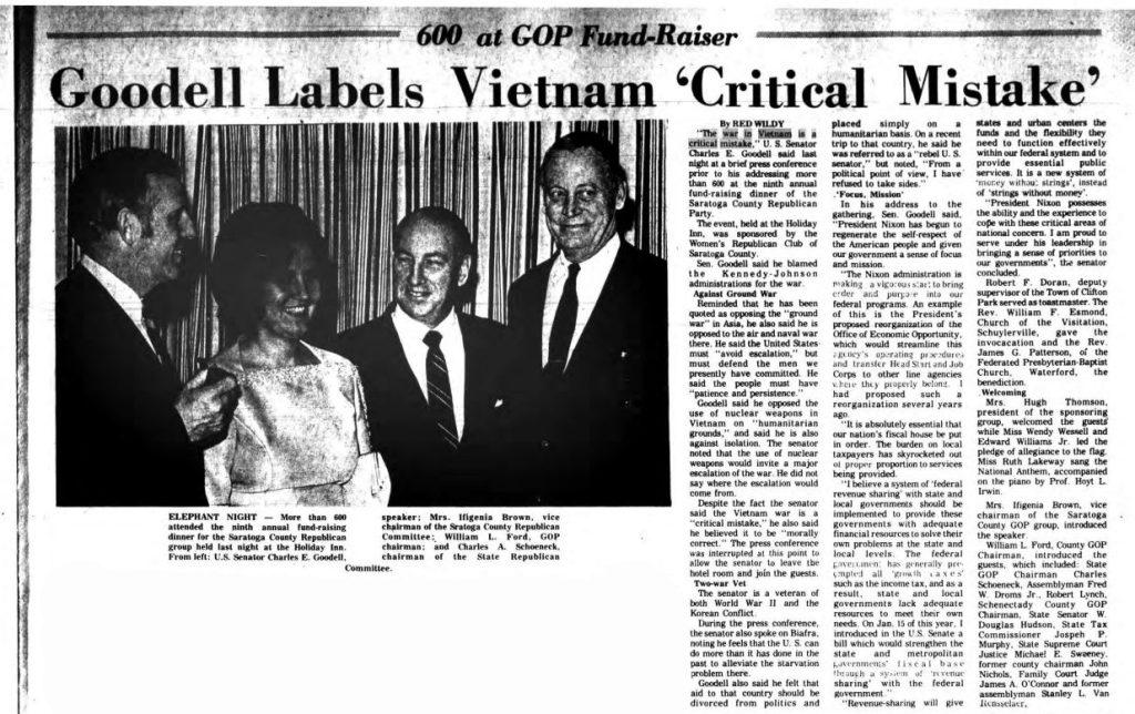 The Saratogian 1969 article Senator Goodell labels Vietnam critical mistake