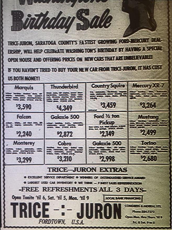 1969 car sale ad for washington's birthday