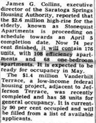 Stonequist Apartments elderly housing project announcement Saratoga NY 1969