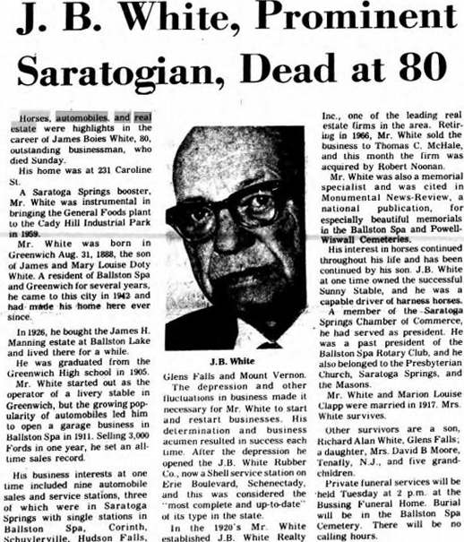 J.B. White Prominent Saratoga Businessman death announcement