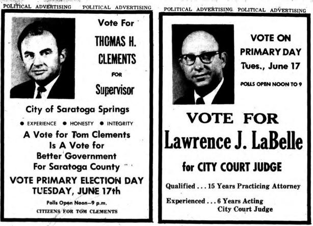 1969 political advertisement in the saratogian