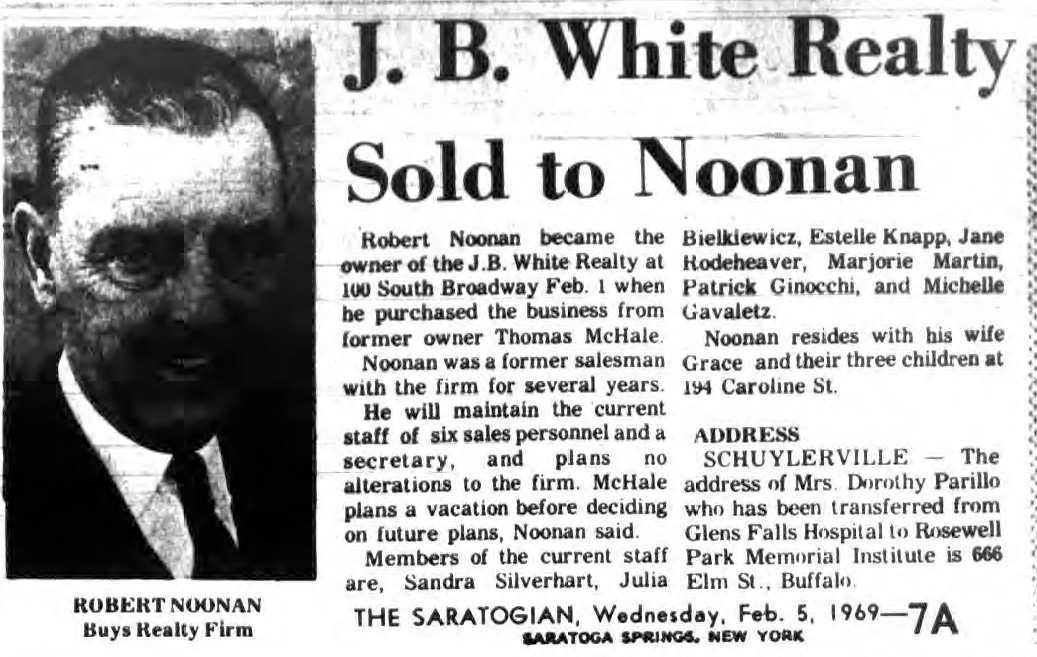 robert noonan buys jb white realty in saratoga springs 1969