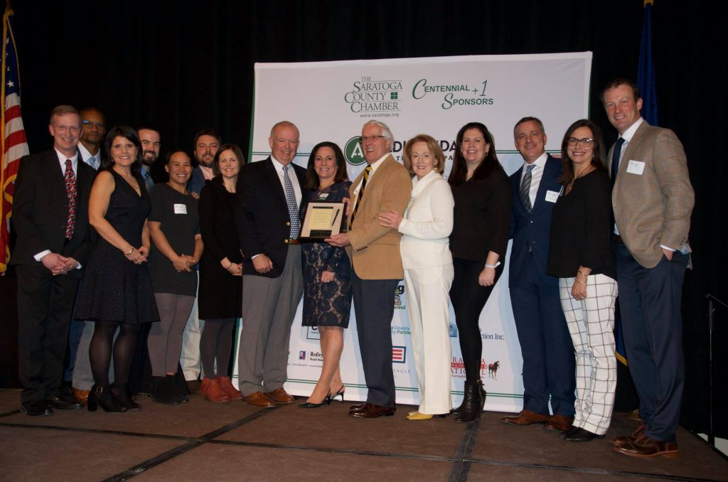 Family and community members gather to present the 2019 Joseph Dalton Community Service Award to Tom Roohan during the Saratoga County Chamber of Commerce's 101st annual dinner in January. (Photo: Saratoga County Chamber of Commerce)