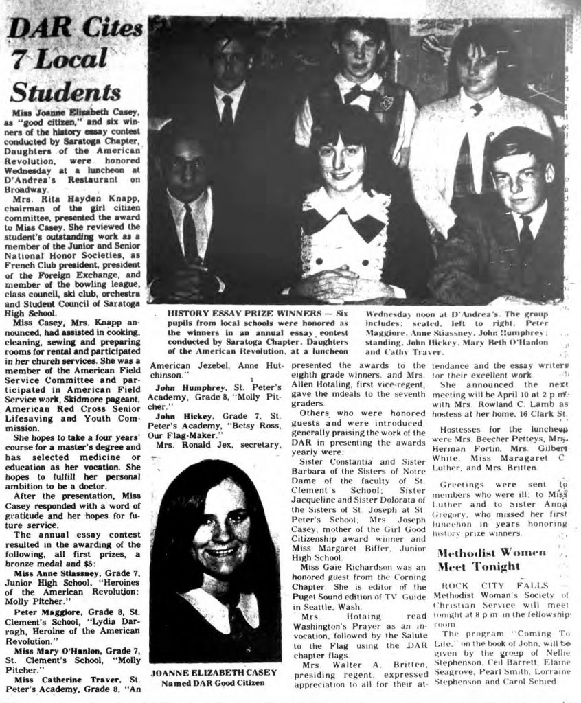 1969 DAR history essay contest winners The Saratogian