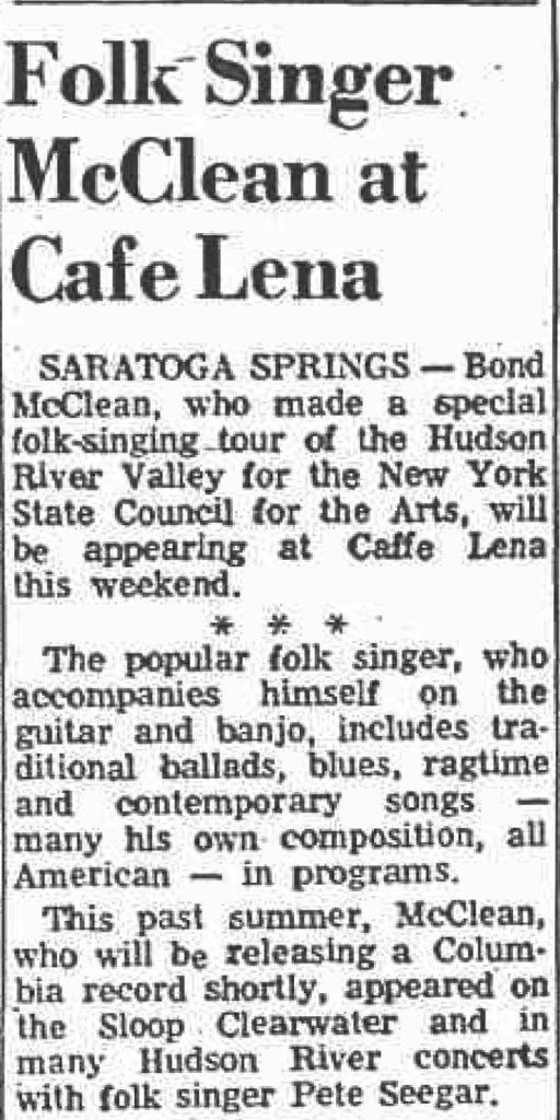 don mcclean at cafe lena saratoga ny 1969