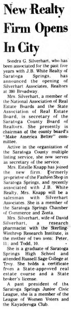 sondra silverhart opens silverhart associates real estate firm in saratoga springs, ny 1969