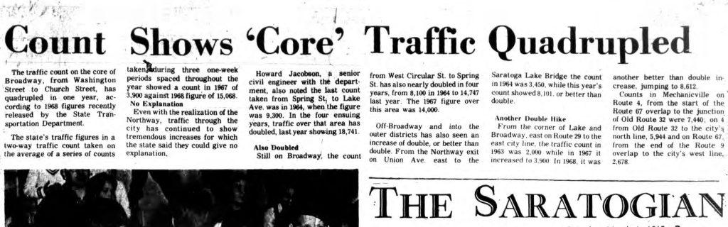 Saratoga Springs ny 1969 saratogian article core traffic quadrupled